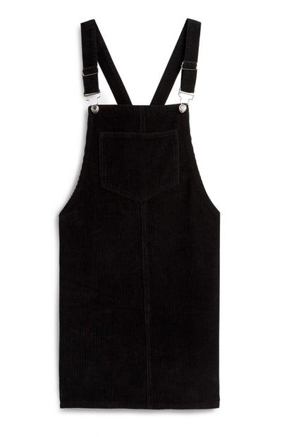 Schwarzes Kordlatzkleid