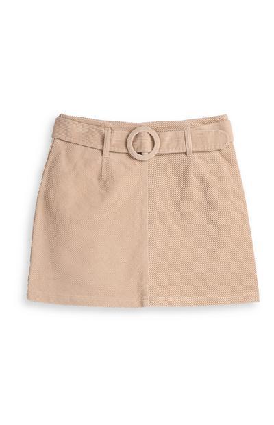 Beige Belted Corduroy Skirt