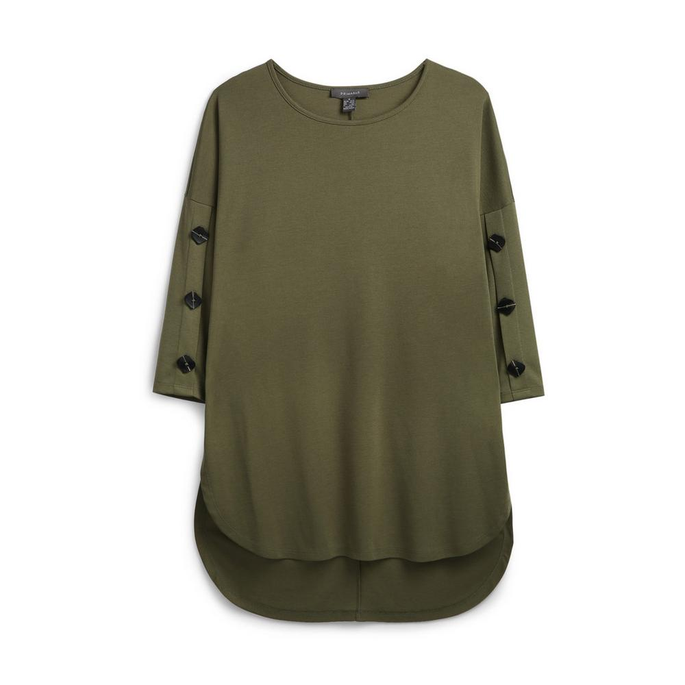 khaki-button-sleeve-jumper by primark