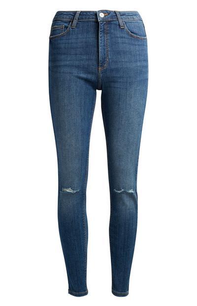 Dunkelblaue Skinny Jeans im Used-Look