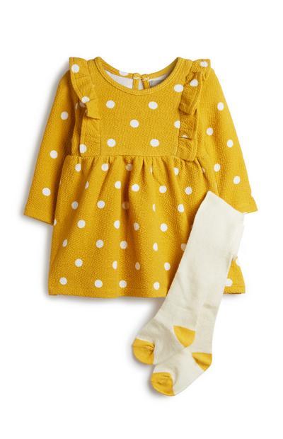 Gelbes Outfit mit Punkten für Babys (M), 2er-Pack