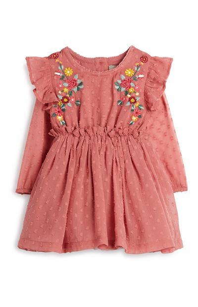 Besticktes rosa Kleid für Babys (M)