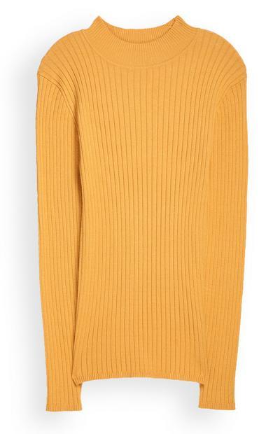 Gelber Pullover mit Stehkragen