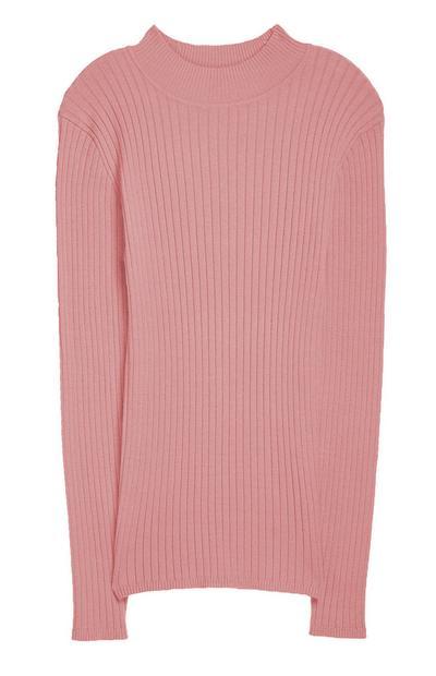 Rosafarbener Pullover mit Stehkragen