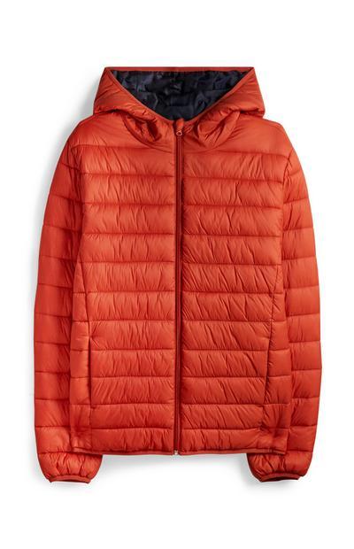 Orange Hooded Puffer Jacket