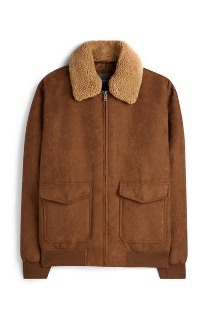 Brown Suede Borg Jacket