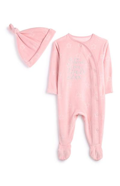 Newborn Girl Pink Velour Outfit 2Pc
