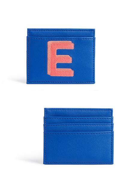 Blaues Kartenetui mit Initiale