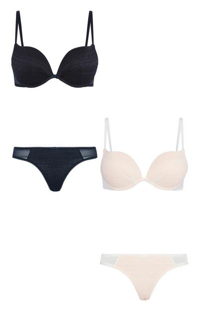 Lace Plunge Bra And Thong 2Pk