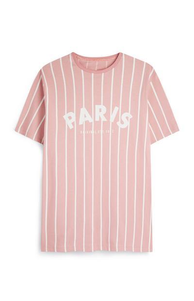 """Rosafarbenes T-Shirt mit Aufdruck """"Paris"""""""