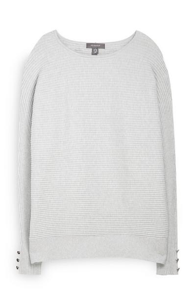 Grey Ribbed Batwing Jumper