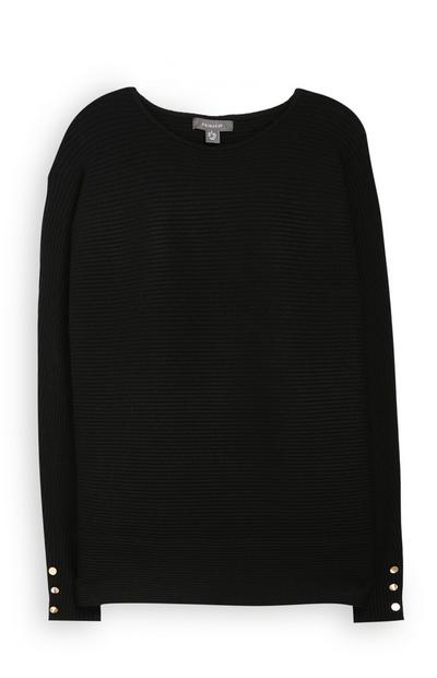 Gerippter Pullover in Schwarz