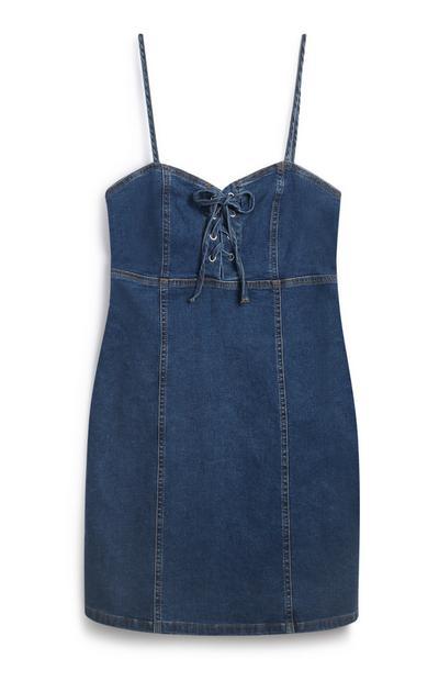 Blaues Jeanskleid mit Zierknoten