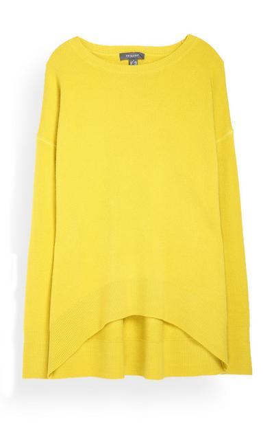 Gelber Pullover mit rundem Saum