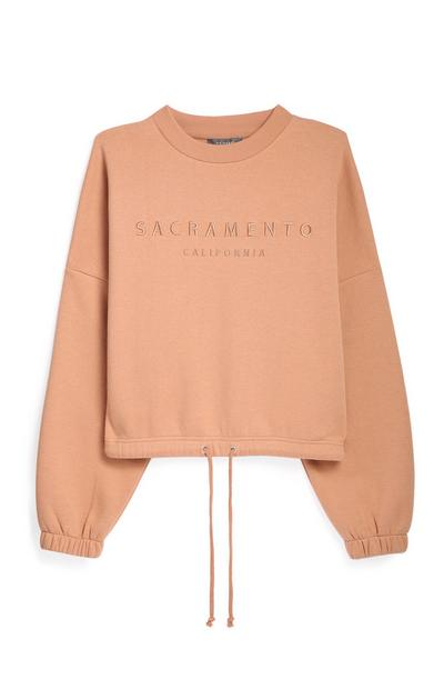 Tan Crop Sweatshirt