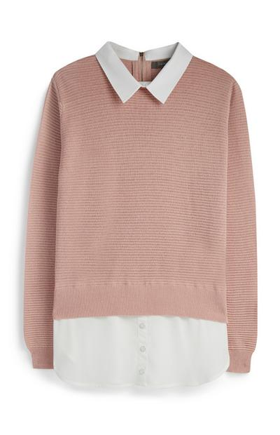 Pink 2 In 1 Jumper And Shirt