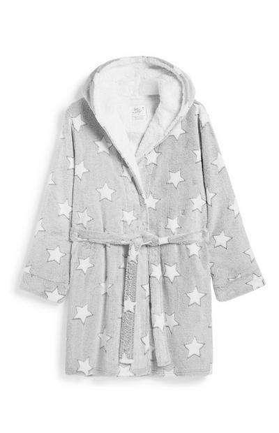Grey Star Print Dressing Gown