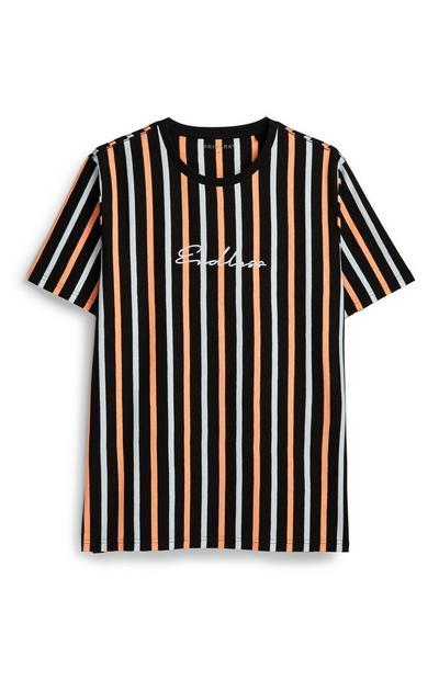 Neonorange-schwarzes Streifen-T-Shirt
