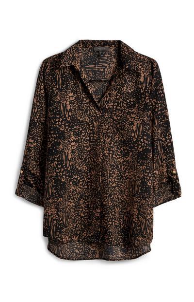 Gemusterte schwarze Bluse