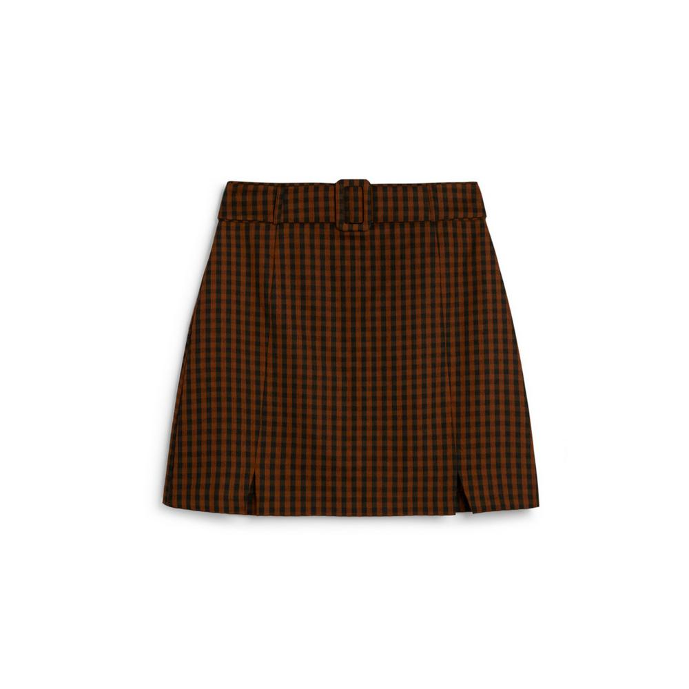 brown-check-belted-mini-skirt by primark