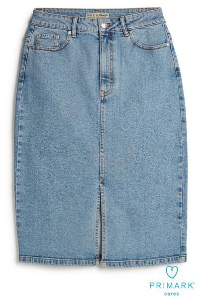 Sustainable Cotton Denim Midi Skirt