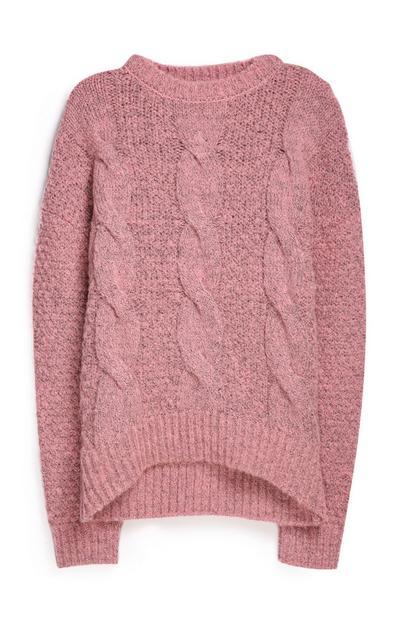 Rosafarbener Pullover mit Zopfmuster