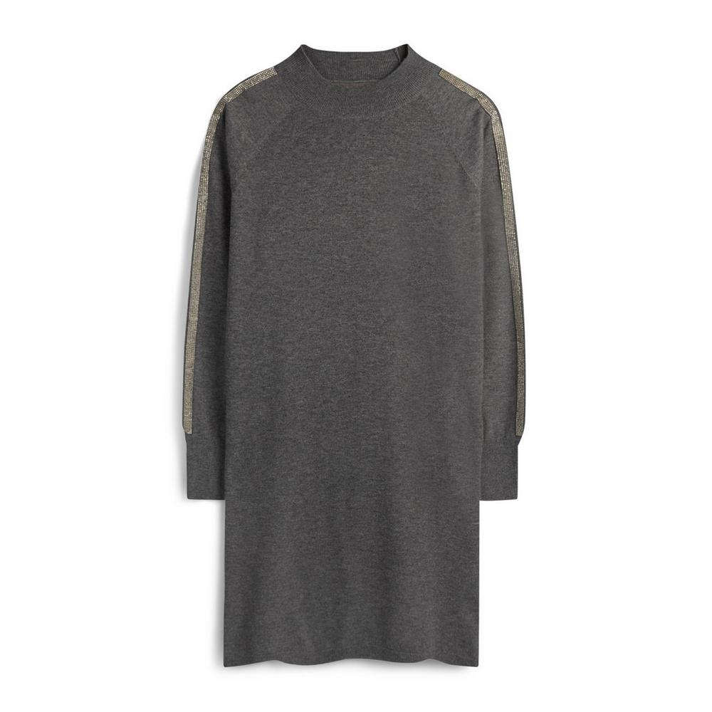 dirt cheap huge discount special discount Grey Embellished Sleeve Jumper Dress | Jumpers & Sweaters ...