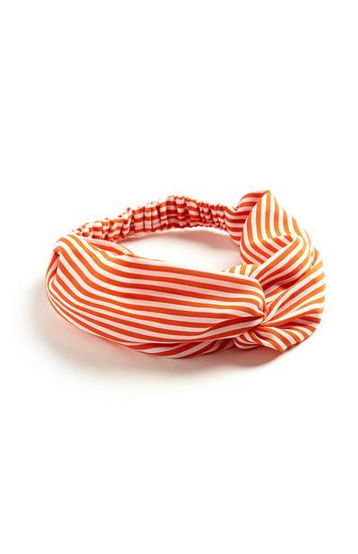 Orangefarben gestreiftes Turban-Haarband