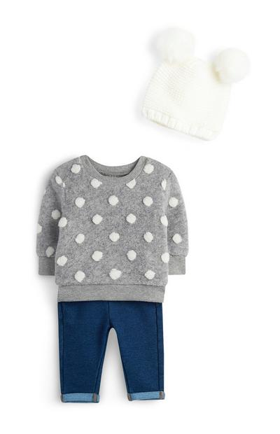 Baby Girl Fluffy 3Pc Outfit
