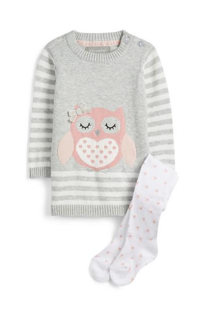 Owl Knit Dress And Socks