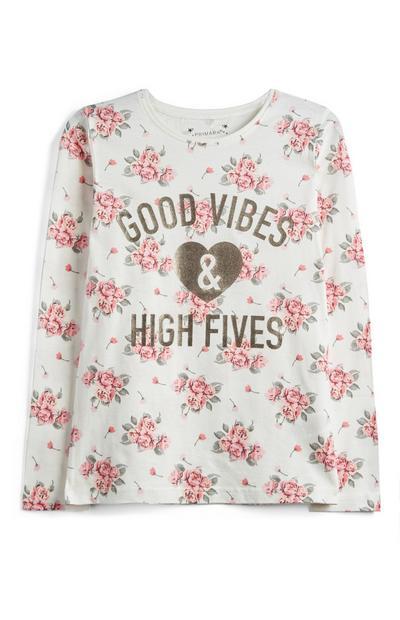 Older Girl Floral Slogan Top