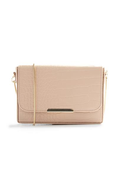 Hautfarbene Clutch in Kroko-Optik