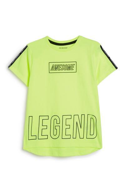 Younger Boy Neon Slogan T-Shirt