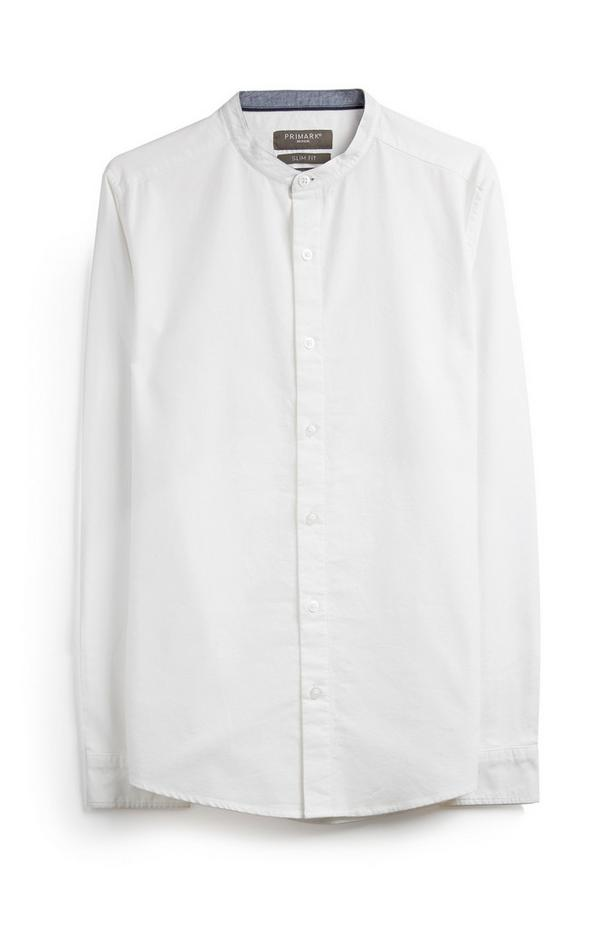 Weißes langärmliges Grandad-Hemd
