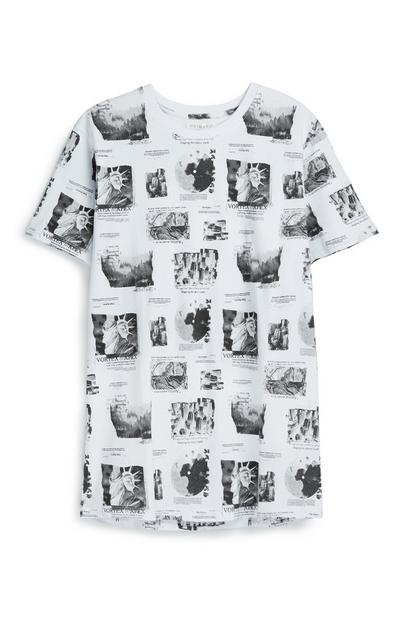 Weißes T-Shirt mit Foto-Print