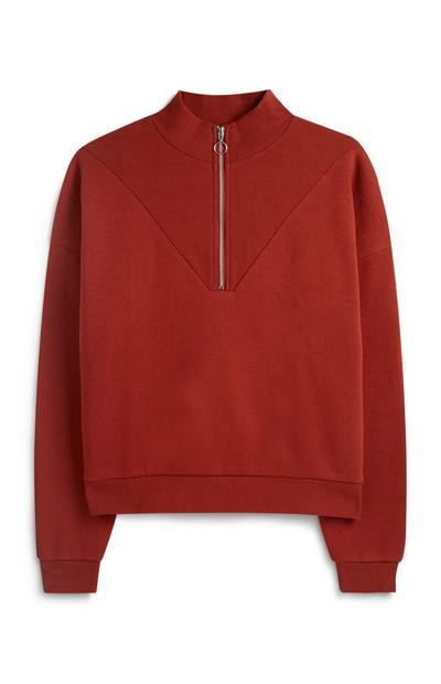 Kurzer Pullover mit halblangem Reißverschluss