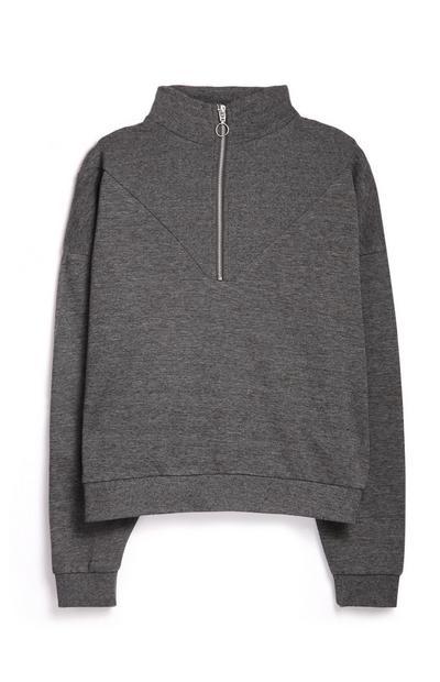 Grey Zip Sweatshirt
