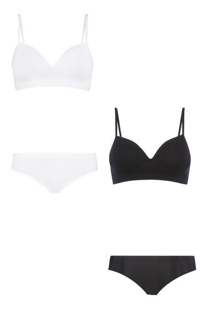 Black And White Bra And Brief Set