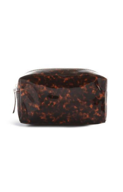 Braune Make-up-Tasche mit Schildpattdesign