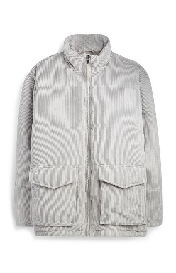 Grey Cord Puffer Coat