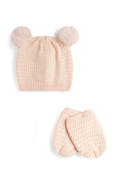 Pink Hat And Mitten Set