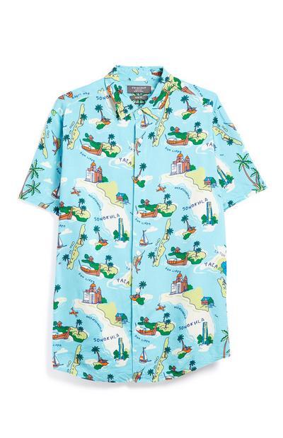Blaues Hemd mit Insel-Motiv
