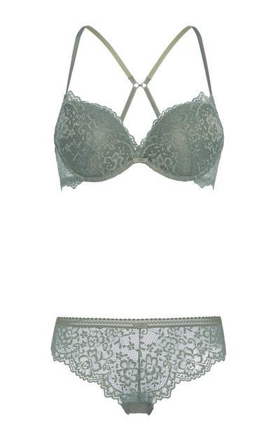 Khaki Lace Plunge Bra And Brief Set