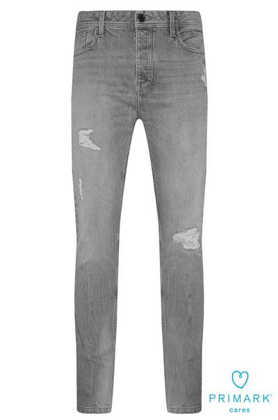 Grey Ripped Sustainable Cotton Jeans