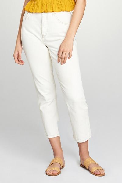 Ecrufarbene, gerade geschnittene Jeans