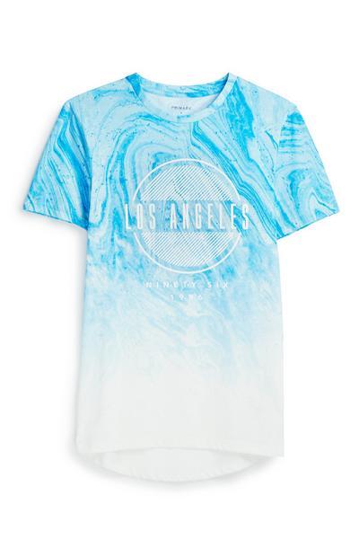 Blaues T-Shirt mit Marmormuster