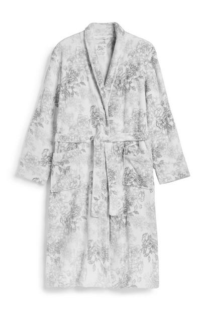 Grey Floral Dressing Gown