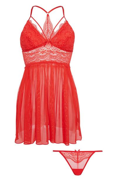 Red Lace Babydoll And Thong Set