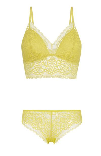 Olive Lace Bralette And Brief Set