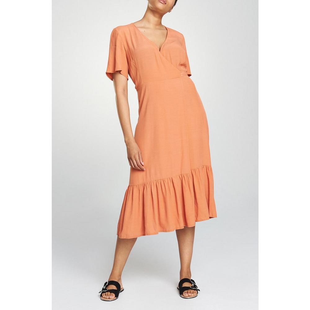 Coral Frill Midi Dress by Primark